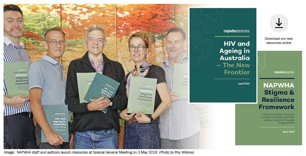 NNAPWHA staff and authors launch resources at Special General Meeting on 3 May 2019 (Photo by Roy Wilkins)