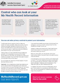 Control who can look at your My Health Record information factsheet cover