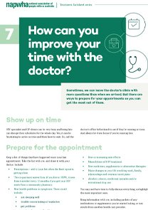 7 of 8 Treatment Factsheet – How can you improve your time with the doctor?
