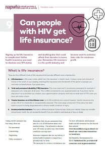 09 Treatment Factsheet – Can people with HIV get life insurance?