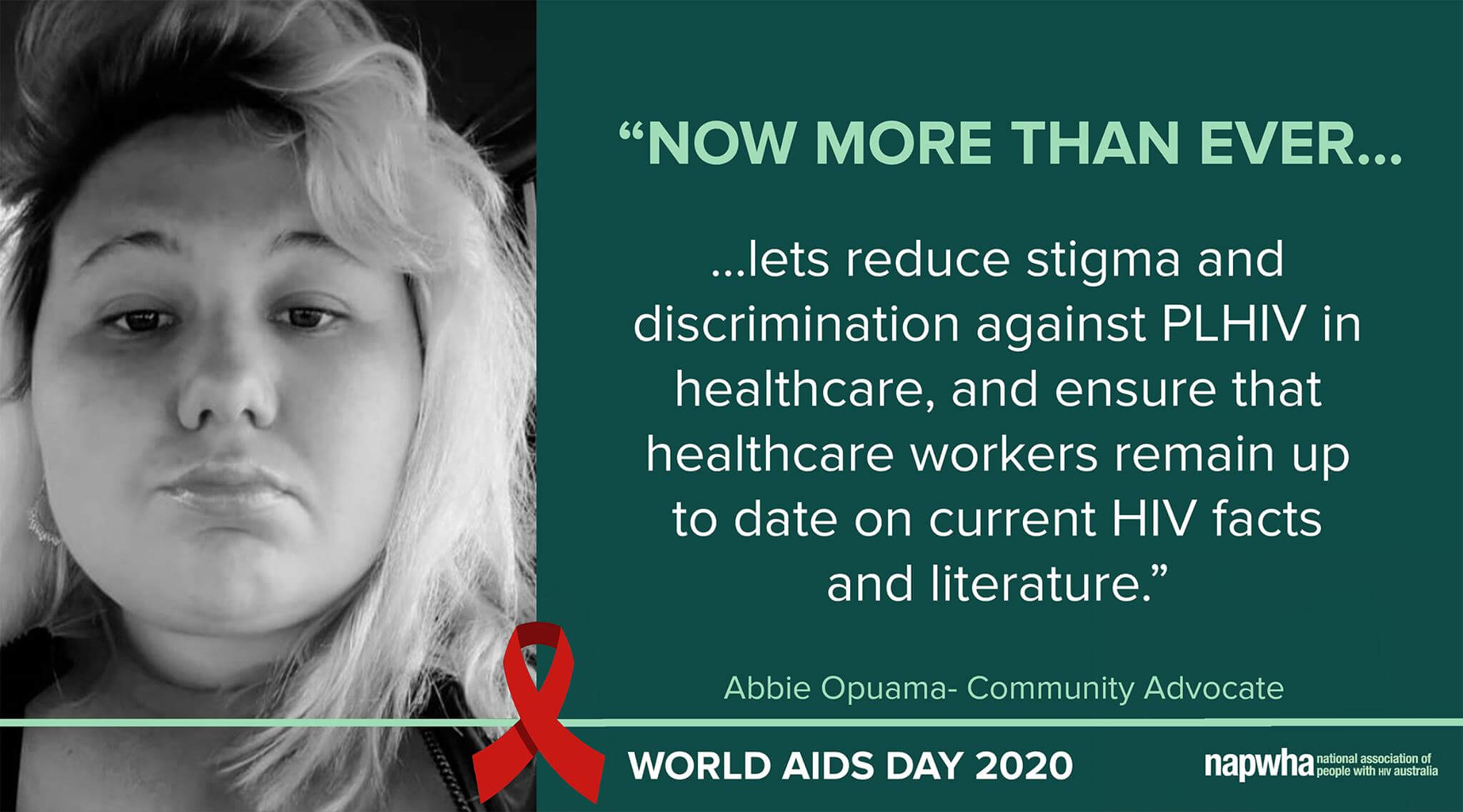 Abbie Opuama, Community Advocate provides a World AIDS Day 2020 message