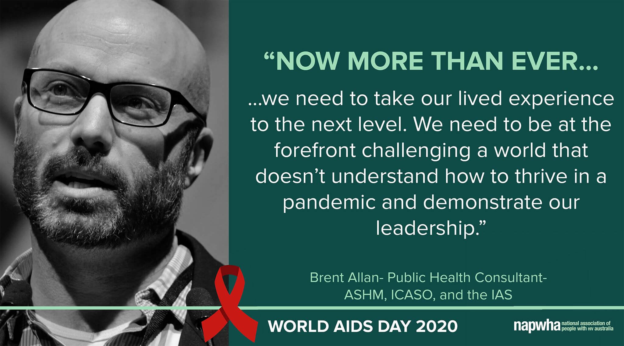 Brent Allen, Public Health consultant for ASHM, ICASO and the IAS provides a World AIDS Day 2020 message