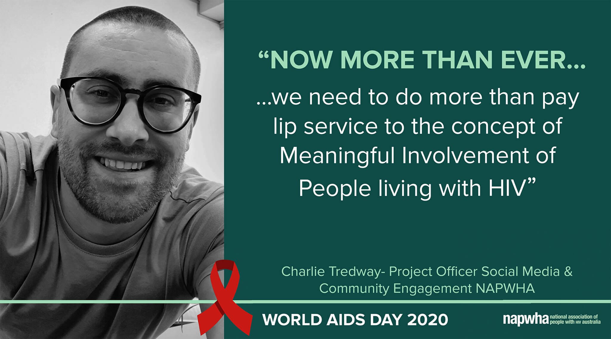Charlie Tredway, NAPWHA Project Officer for Social Media and Community Engagement provides a World AIDS Day 2020 message