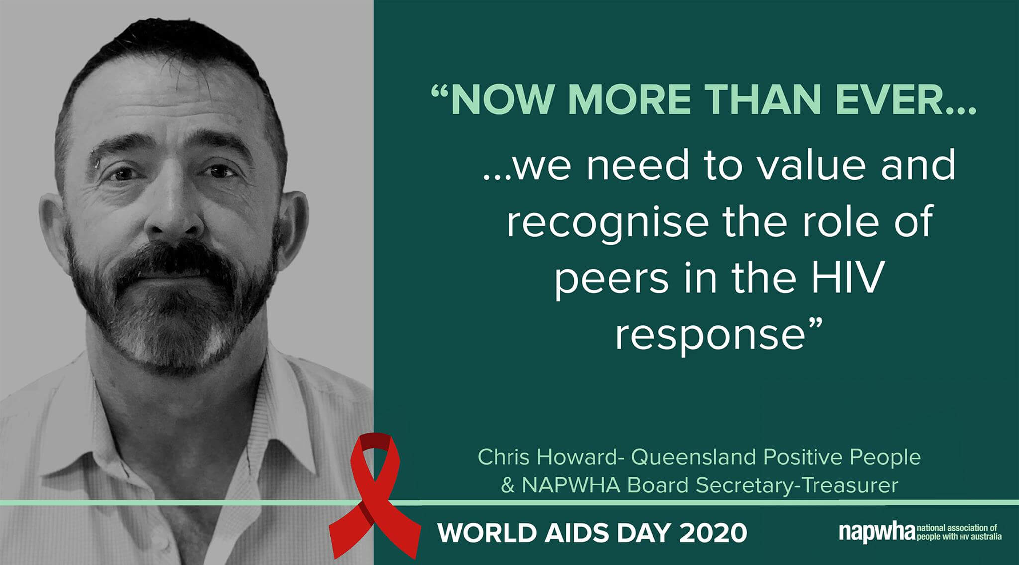 Chris Howard of Queensland Positive People and NAPWHA Board Secretary-Treasurer provides a World AIDS Day 2020 message
