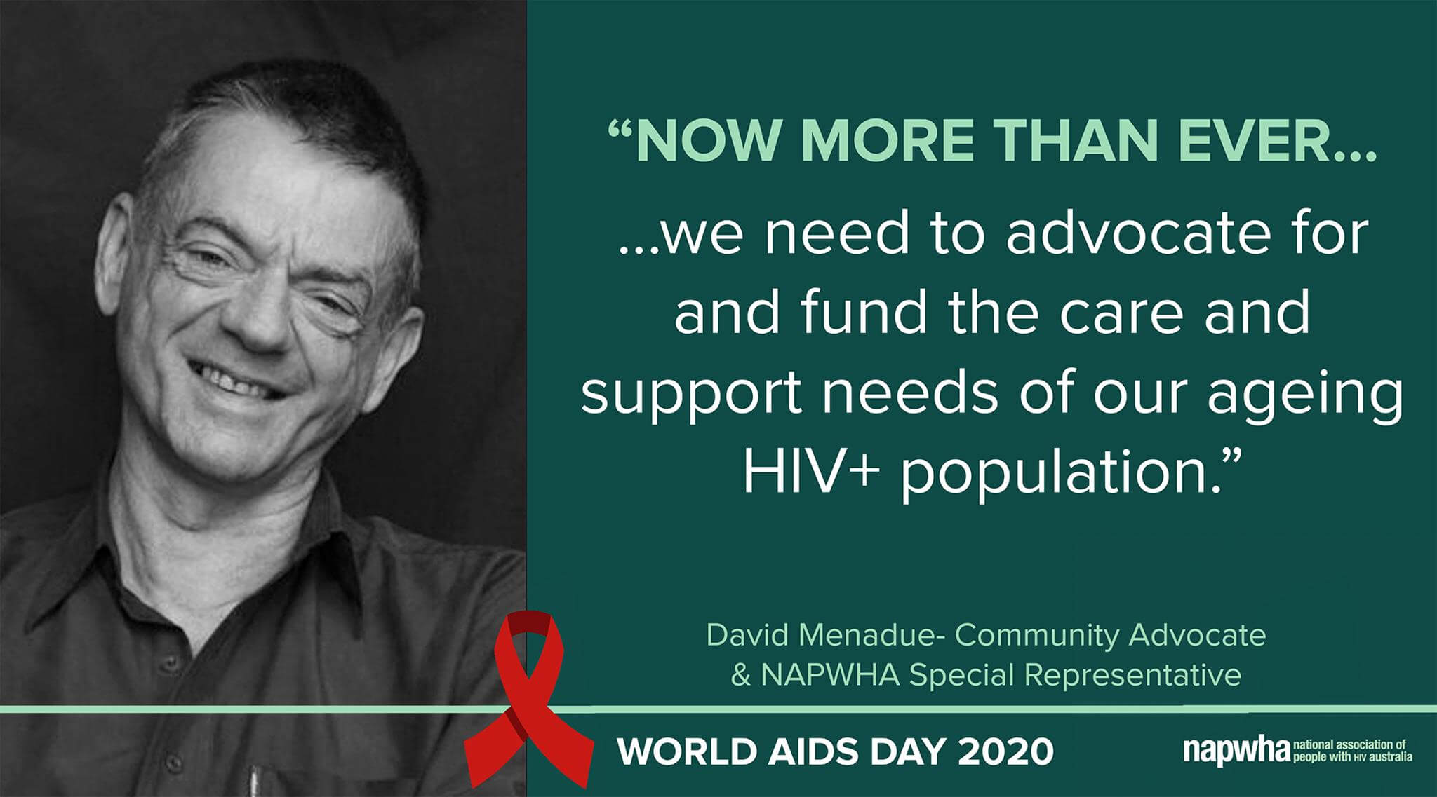 David Menadue, Community Advocate and NAPWHA Board Secretary-Treasurer provides a World AIDS Day 2020 message