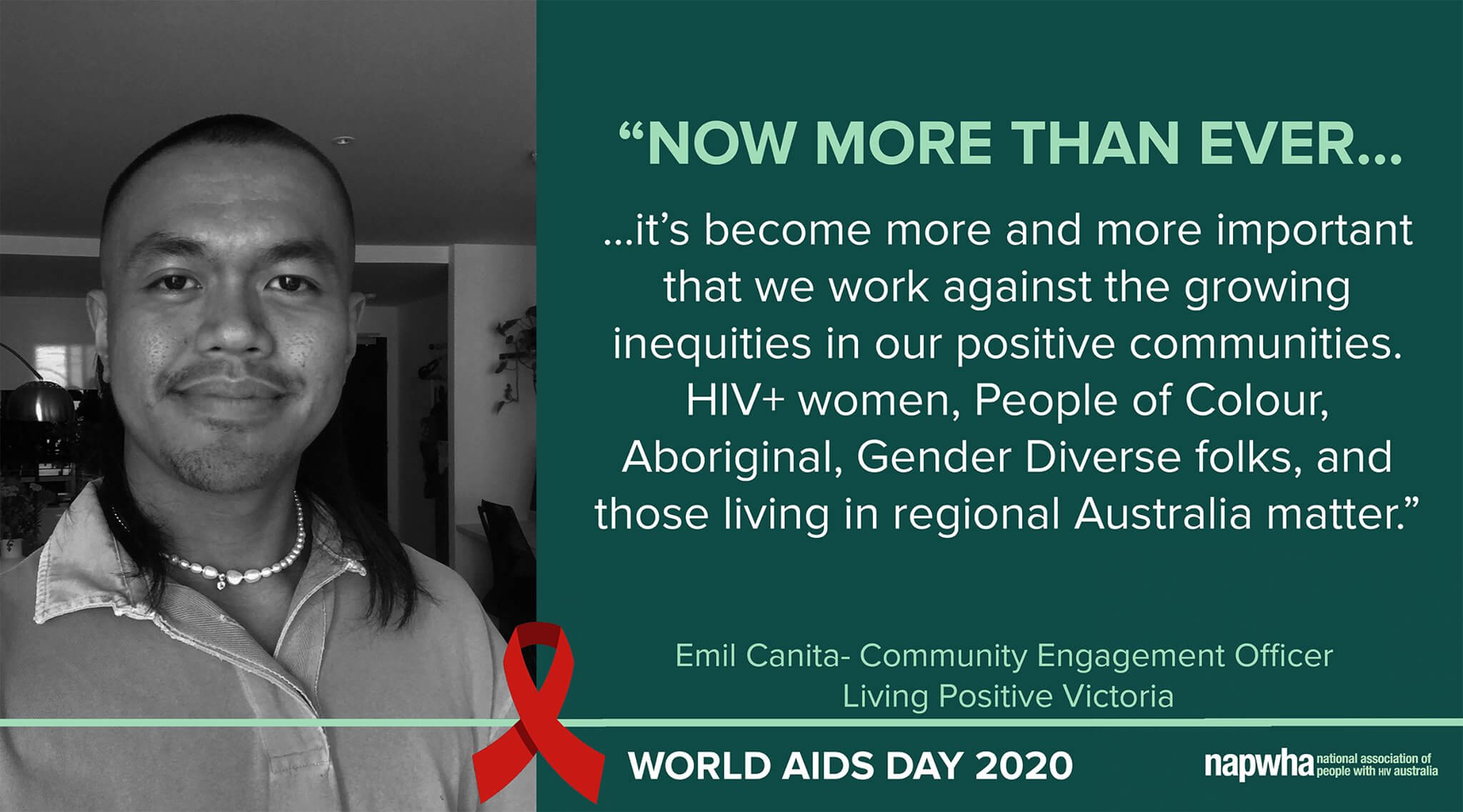 Emil Canita, Community Engagement Officer of Living Positive Victoria provides a World AIDS Day 2020 message
