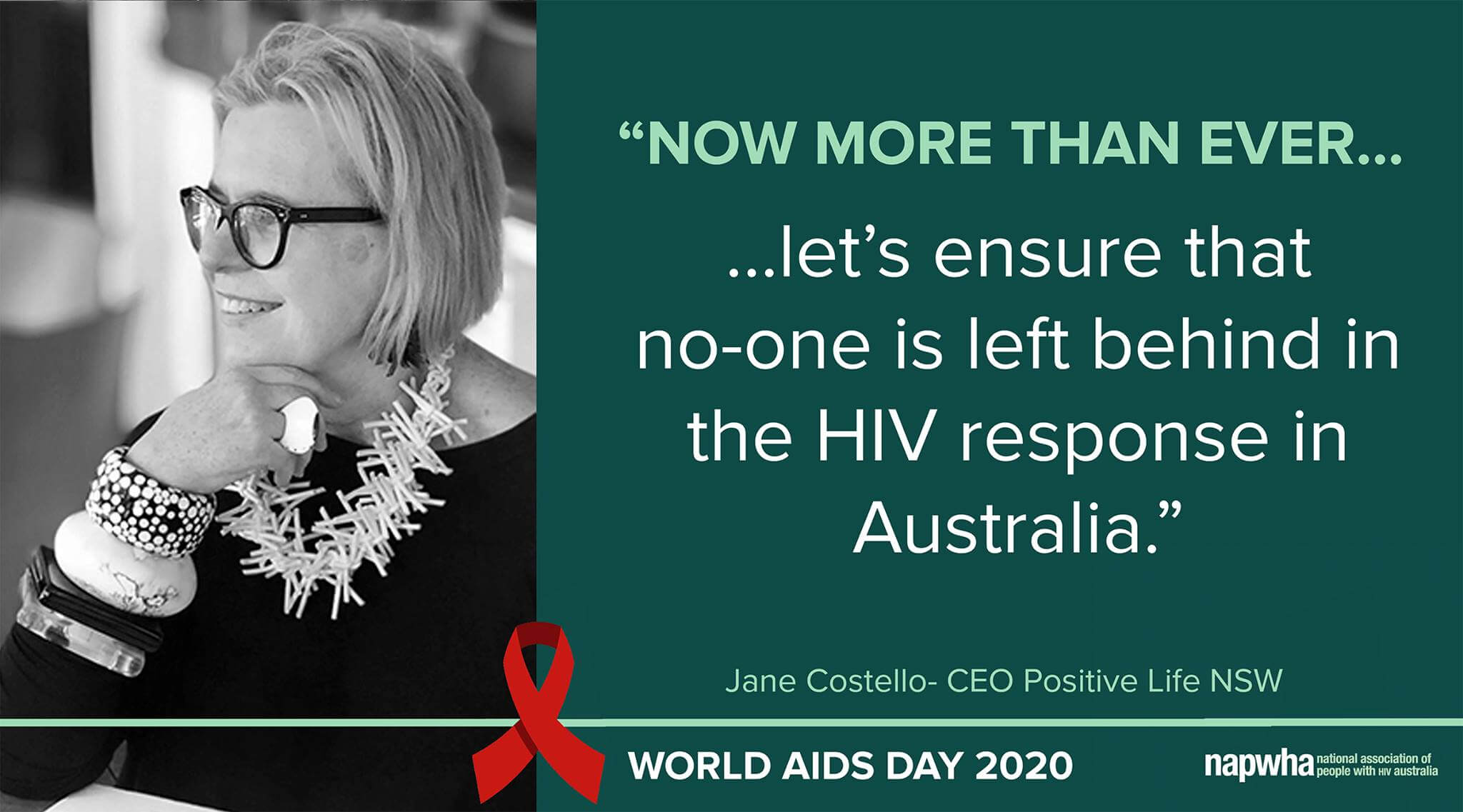 Jane Costello, CEO of Positive Life NSW provides a World AIDS Day 2020 message