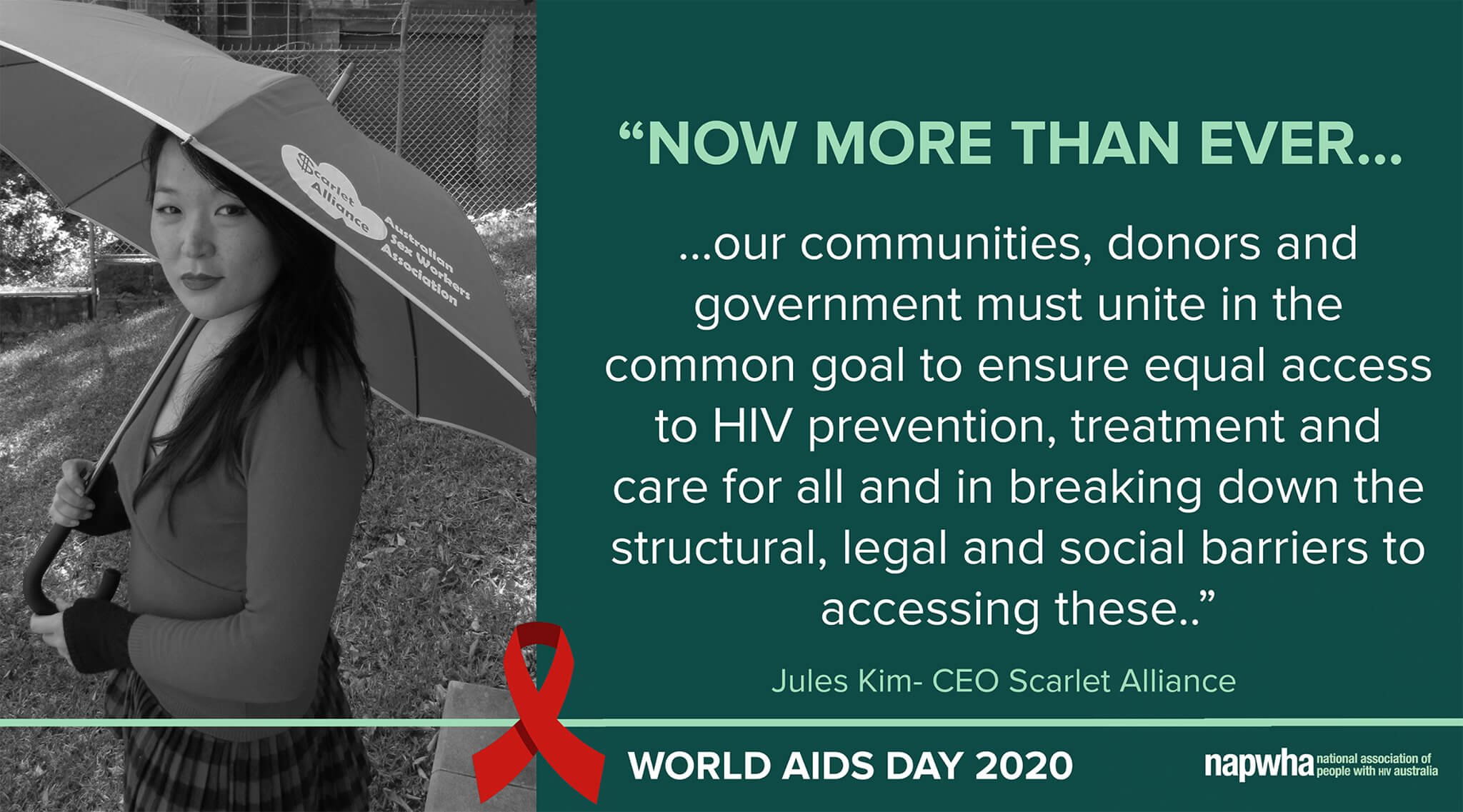 Jules Kim, CEO of Scarlet Alliance provides a World AIDS Day 2020 message