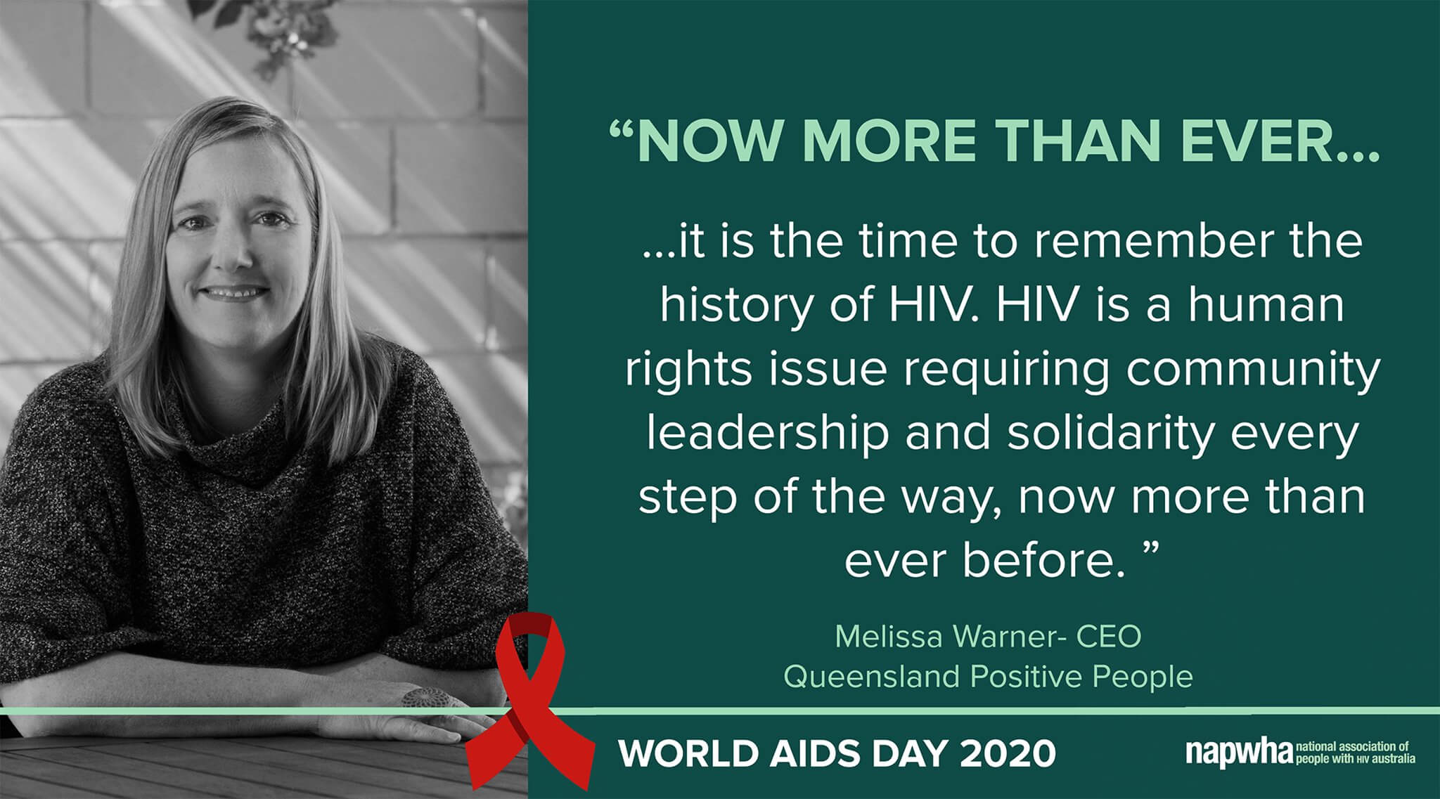 Melissa Warner, CEO of Queensland Positive People provides a World AIDS Day 2020 message