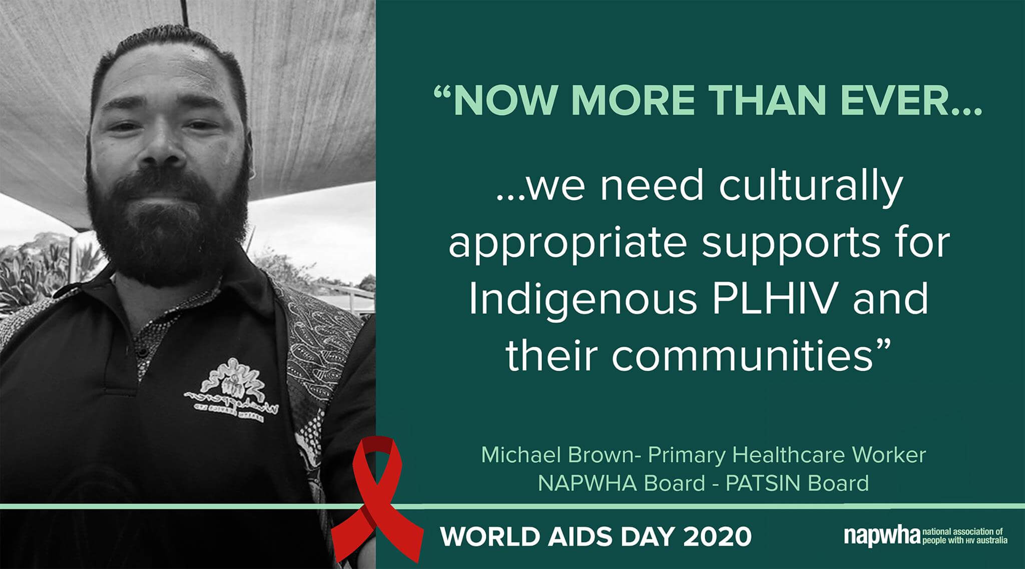 Michael Brown, Primary Healthcare worker and NAPWHA Board and PATSIN Board member provides a World AIDS Day 2020 message