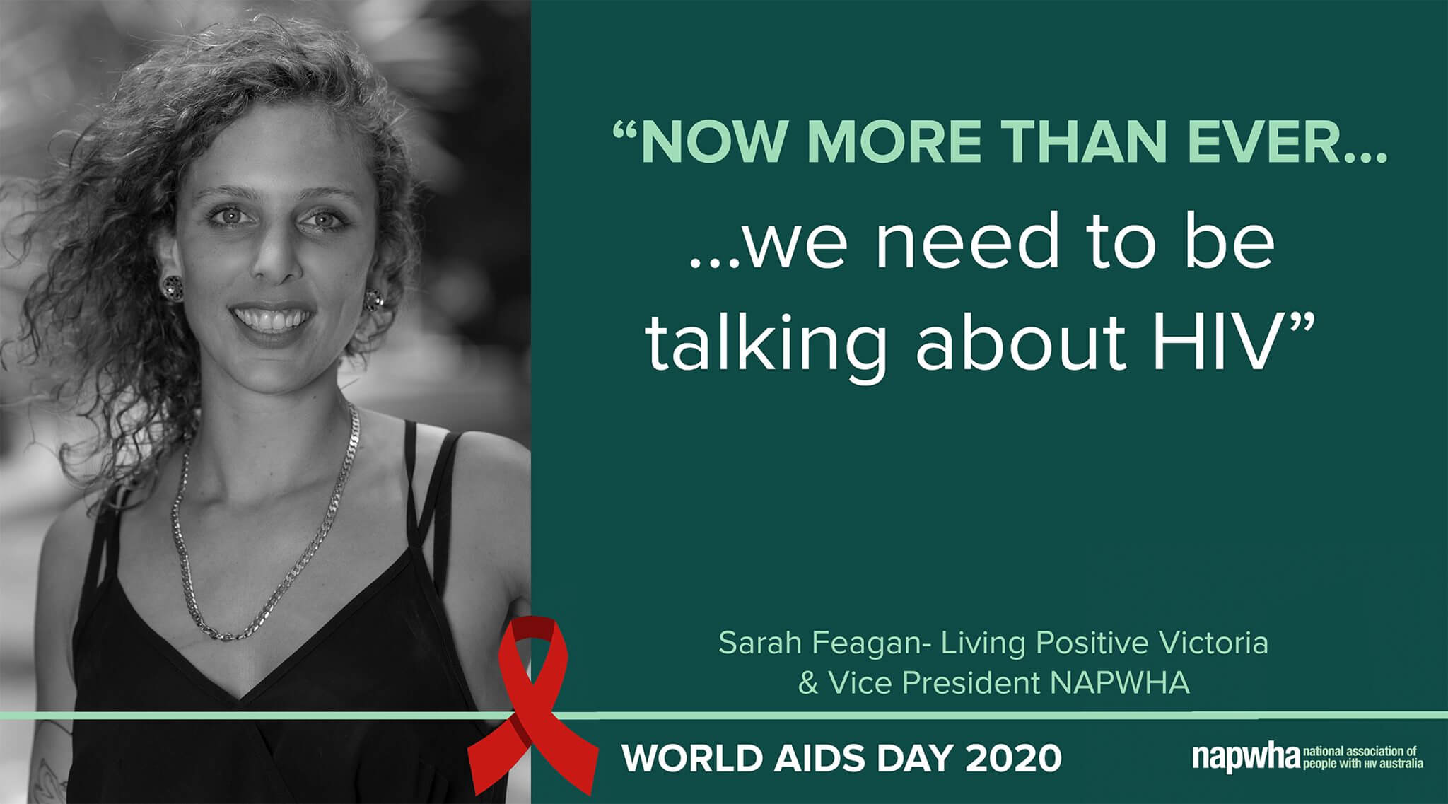 Sarah Feagan, Vice-President of NAPWHA and of Living Positive Victoria provides a World AIDS Day 2020 message