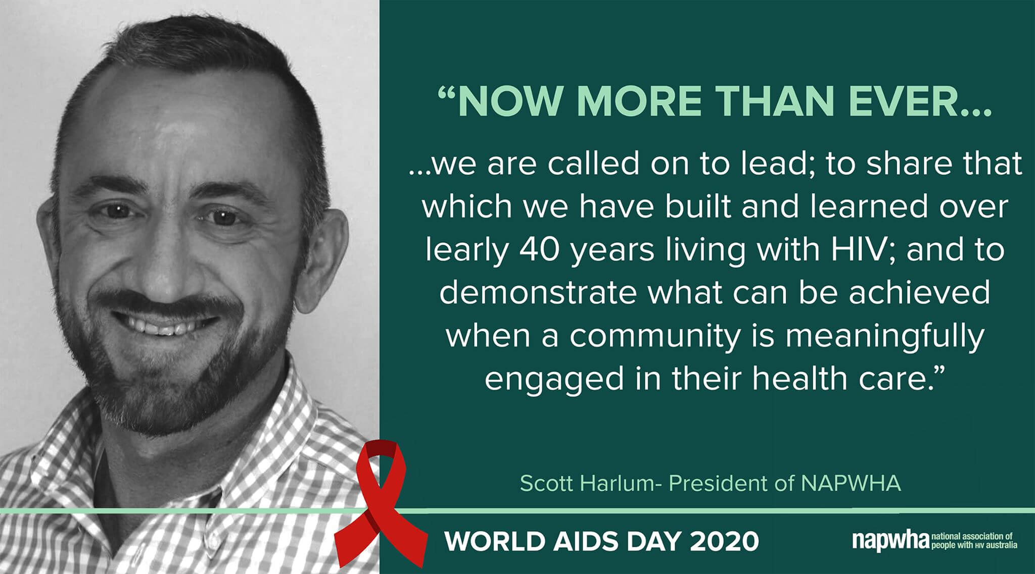 Scott Harlum, NAPWHA President provides a World AIDS Day 2020 message
